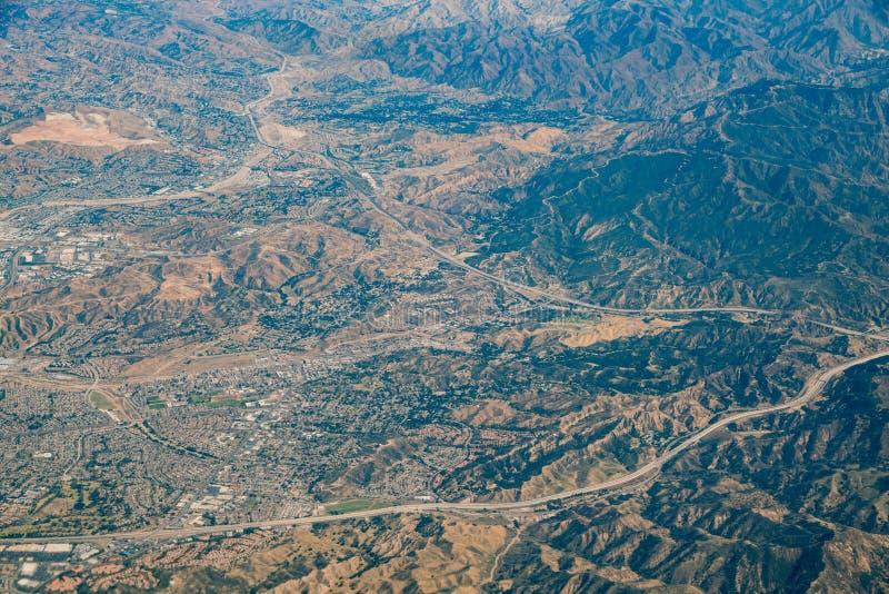 Flyg- sikt av Santa Clarita område arkivfoto