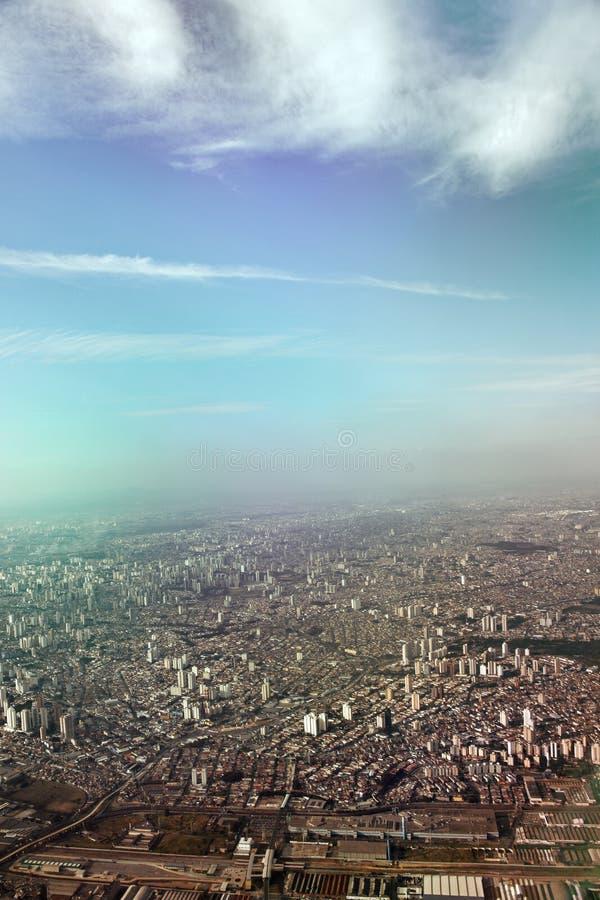 Flyg- sikt av Sao Paulo arkivfoto