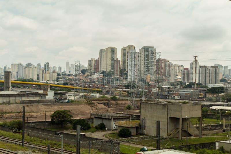 Flyg- sikt av Sao Paulo, Brasilien royaltyfri bild