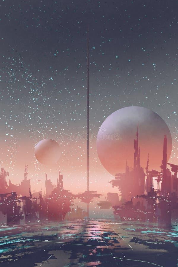 Flyg- sikt av science fictionstaden med futuristiska byggnader på en främmande planet stock illustrationer