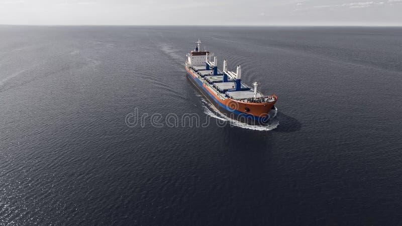 Flyg- sikt av seglingen för behållareskepp i havet royaltyfria foton