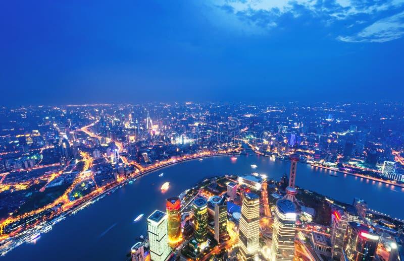 Flyg- sikt av shanghai lujiazuifinans royaltyfria bilder