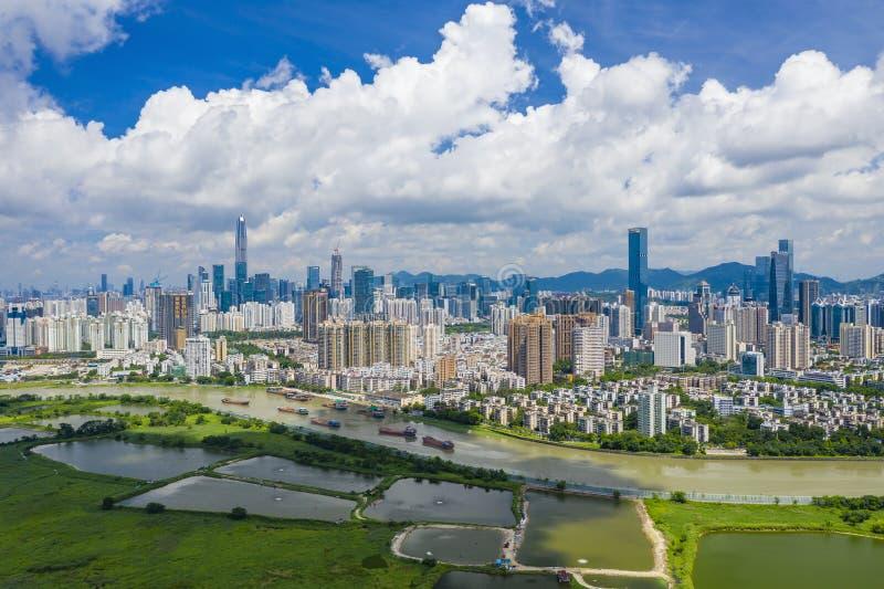 Flyg- sikt av Shenzhen CBD i Kina arkivbilder
