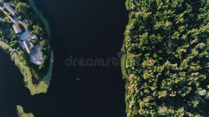 Flyg- sikt av skogkanoten royaltyfria bilder