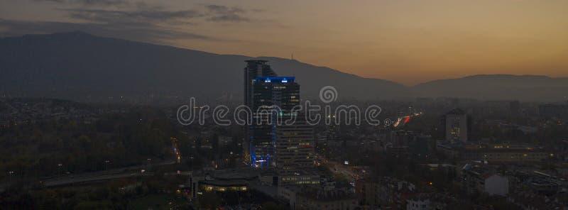 Flyg- sikt av Sofia, Bulgarien, 21 Oktober, 2018 royaltyfria bilder