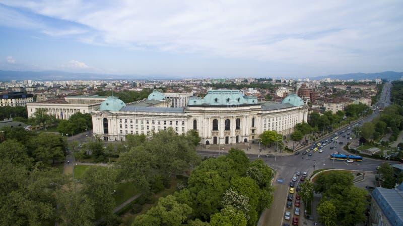 Flyg- sikt av Sofia University, Sofia, Bulgarien royaltyfri foto