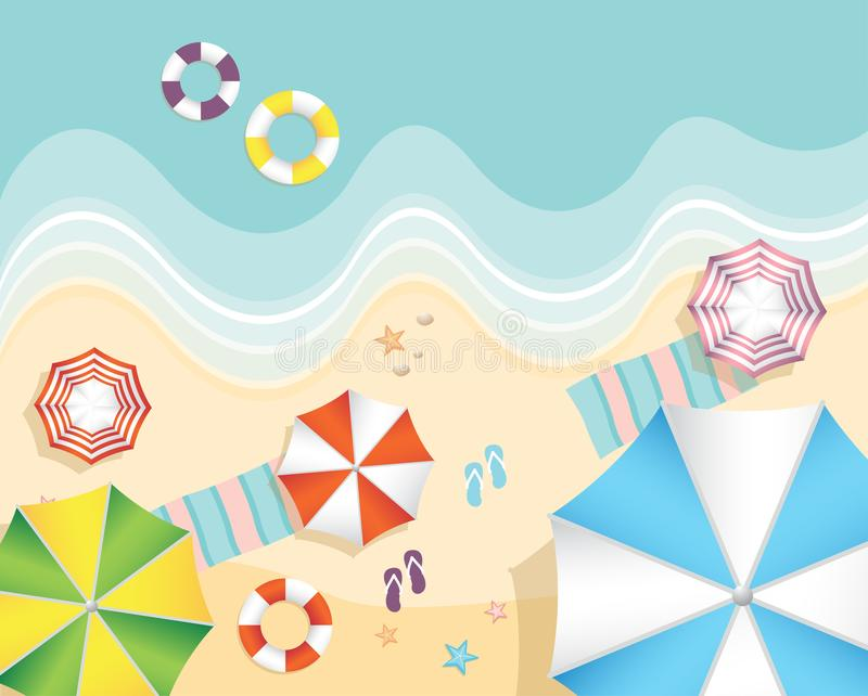 Flyg- sikt av sommarstranden i plan designstil sjöstjärna och sommartid, avkopplingsommarturism stock illustrationer