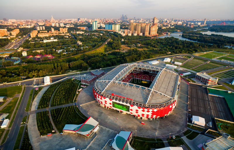 Flyg- sikt av Spartak Stadium i Moskva royaltyfri bild