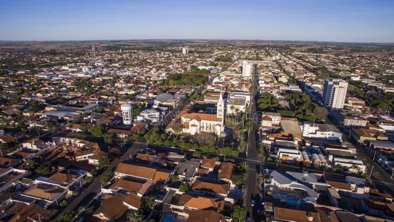 Flyg- sikt av staden av Andradina i den Sao Paulo staten i Brazi royaltyfria bilder