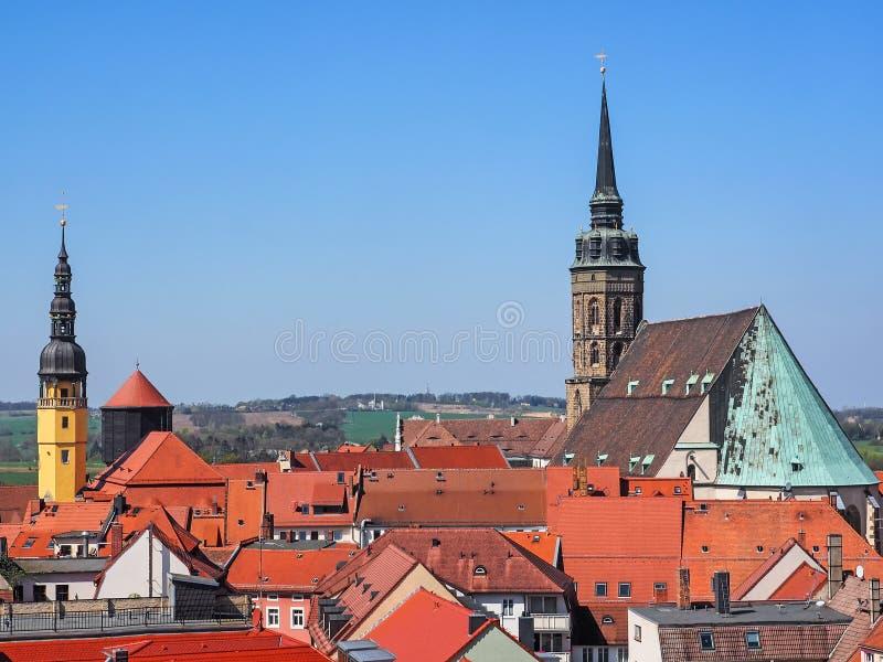 Flyg- sikt av staden Bautzen, Sachsen, Tyskland arkivbild