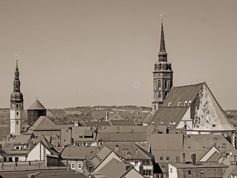 Flyg- sikt av staden Bautzen, Sachsen, Tyskland, i tappningblick arkivbilder
