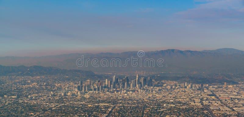 Flyg- sikt av stora Los Angeles-area royaltyfria foton