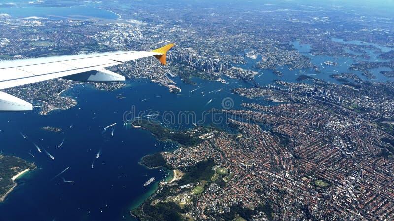 Flyg- sikt av Sydney, Australien arkivbild
