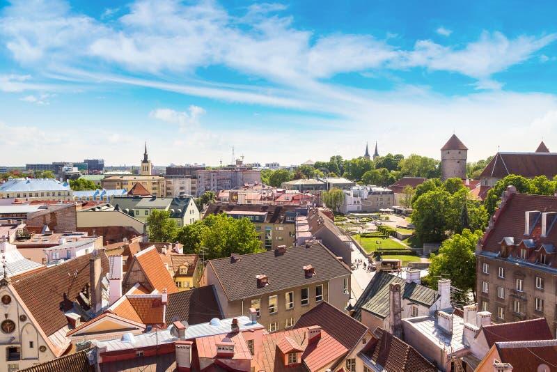 Flyg- sikt av Tallinn royaltyfri fotografi