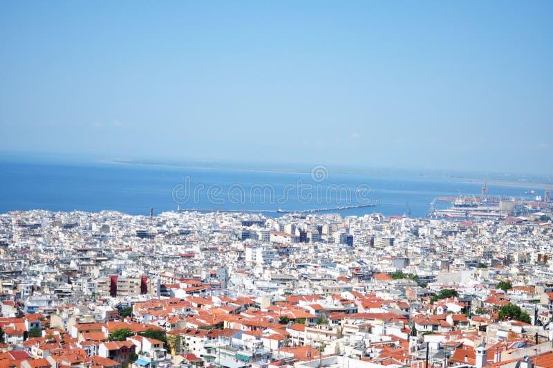 Flyg- sikt av Thessaloniki arkivbilder