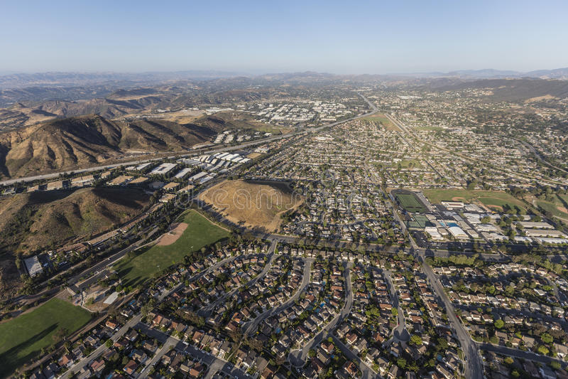 Flyg- sikt av Thousand Oaks Kalifornien fotografering för bildbyråer