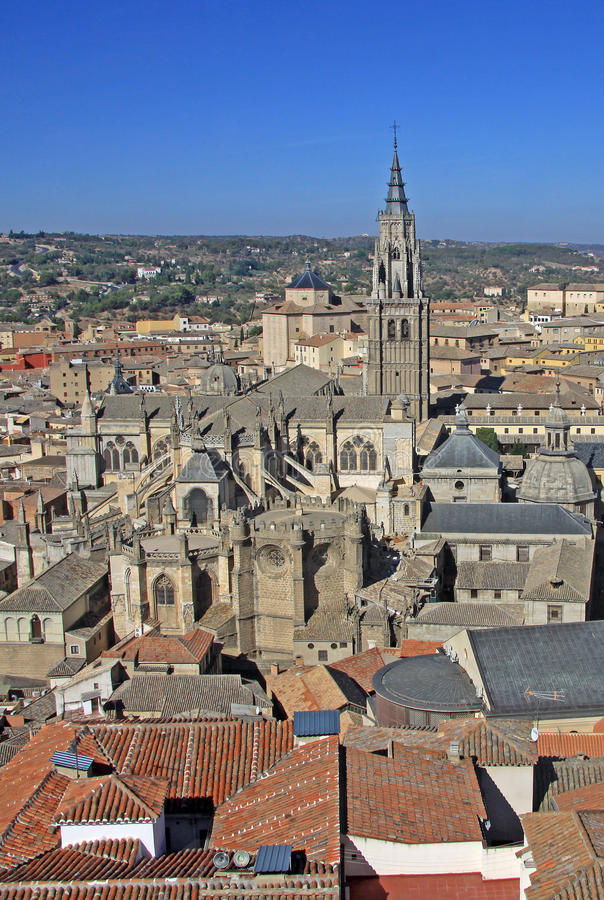 Flyg- sikt av Toledo Toledo Cathedral spain toledo arkivbilder