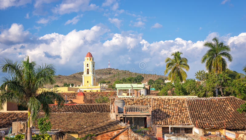 Flyg- sikt av Trinidad, Kuba arkivfoton