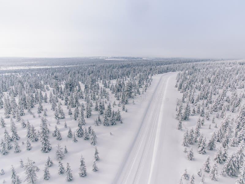Flyg- sikt av vägen i vintersnöskogen i Finland royaltyfri bild