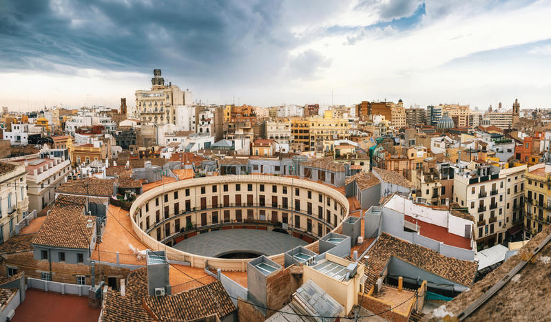 Flyg- sikt av Valencia, Spanien royaltyfria foton