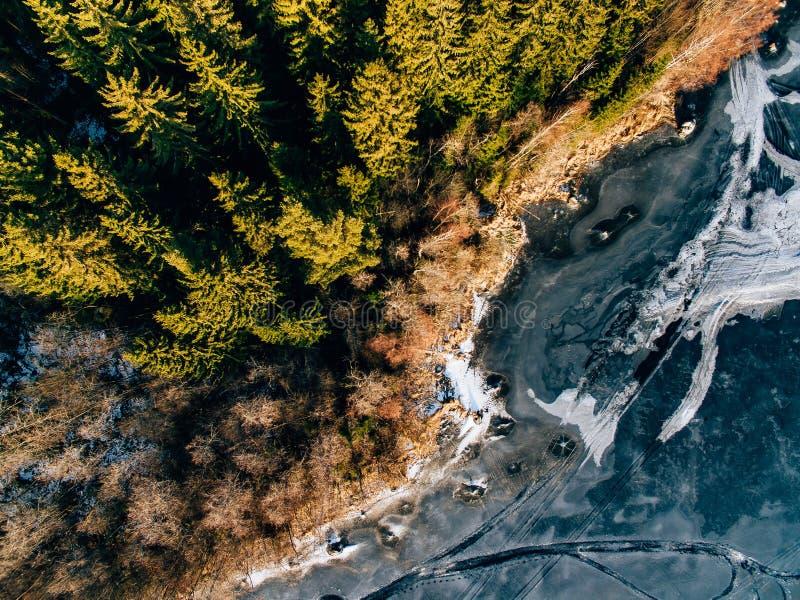 Flyg- sikt av vintersnöskogen och den djupfrysta sjön från över som fångas med ett surr i Finland arkivfoto