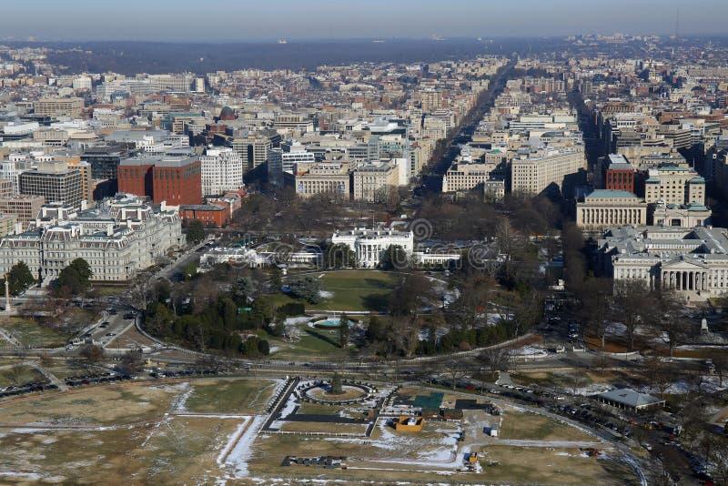 Flyg- sikt av Vita Huset, Washington DC royaltyfri bild