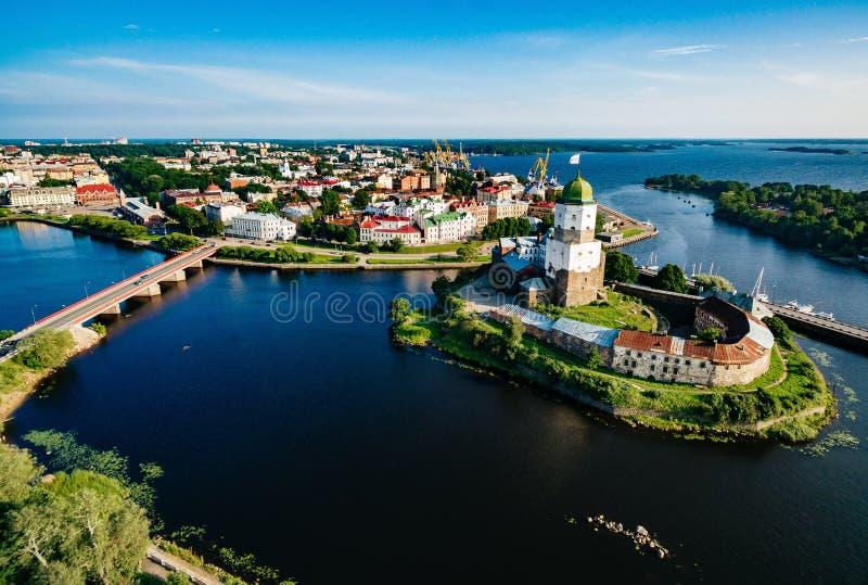 Flyg- sikt av Vyborg stadspanorama, Ryssland arkivfoto