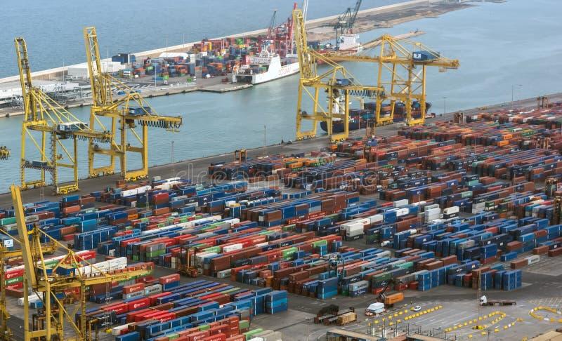 Flyg- sikt Barcelona för industriell lastport royaltyfria foton