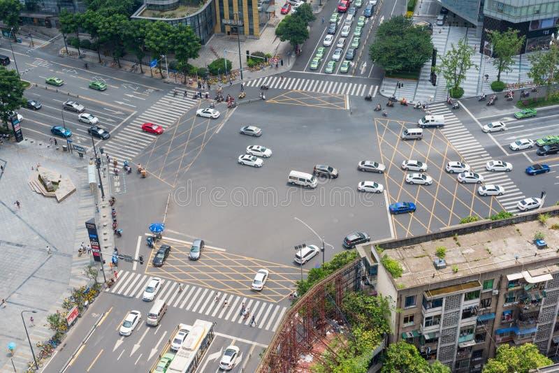 Flyg- sikt Chengdu för stora tvärgator arkivbilder