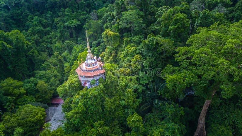 flyg- sikt den höga pagoden på den bergTapon grottan royaltyfri foto