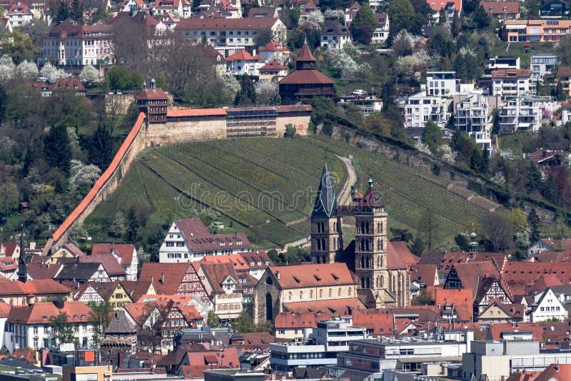 Flyg- sikt Esslingen, Tyskland arkivbilder