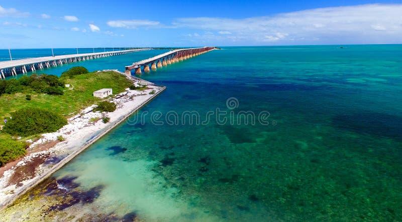 Flyg- sikt för Bahia Honda delstatspark, Florida royaltyfri foto