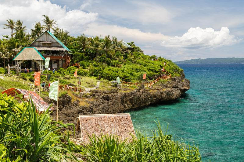 Flyg- sikt för Boracay ö av den lyxiga destinationen för semester för loppkryssningskepp arkivfoton