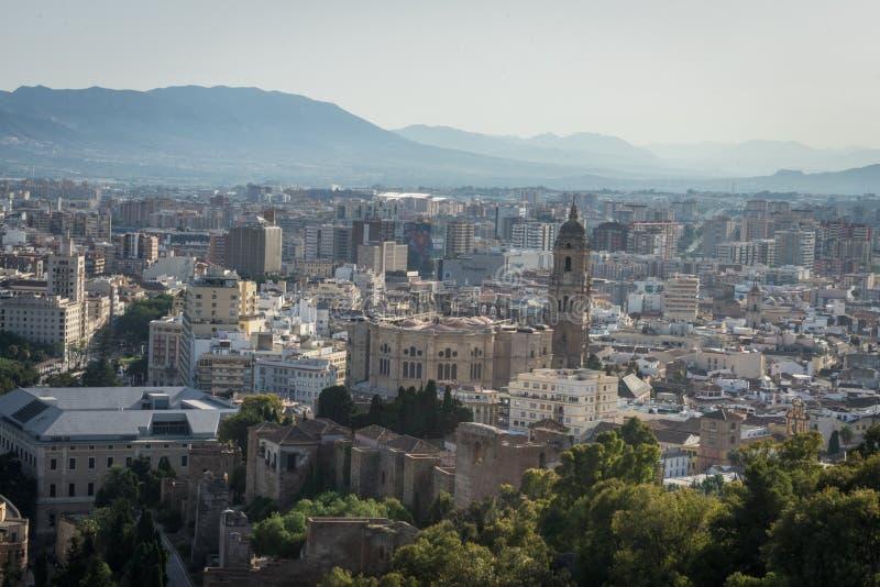 Flyg- sikt för Cityscape av Malaga, Spanien Domkyrkan av Malaga royaltyfri fotografi