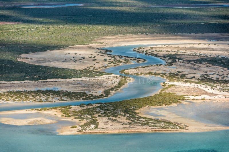 Flyg- sikt för flod i hajfjärden Australien royaltyfri fotografi