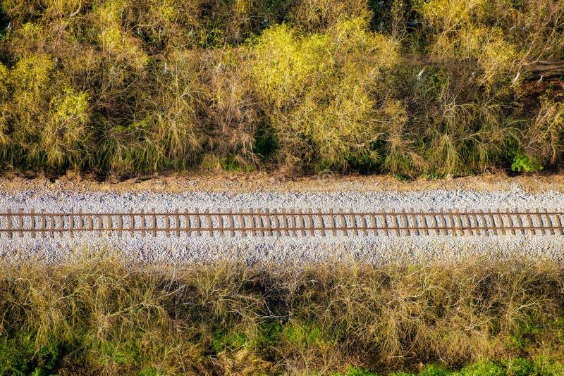 Flyg- sikt för järnväg royaltyfria foton