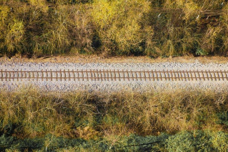 Flyg- sikt för järnväg arkivbild