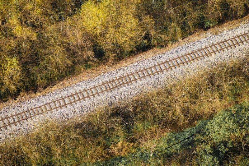 Flyg- sikt för järnväg fotografering för bildbyråer