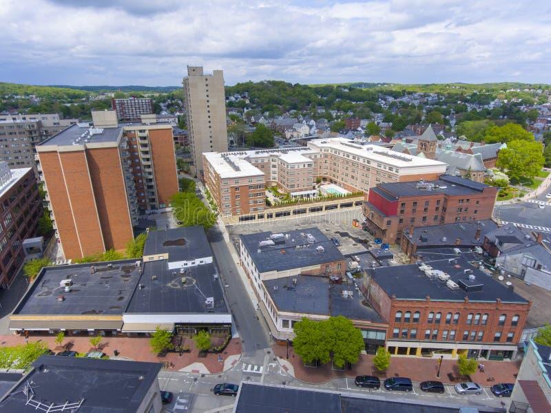 Flyg- sikt för Malden stad, Massachusetts, USA royaltyfria foton
