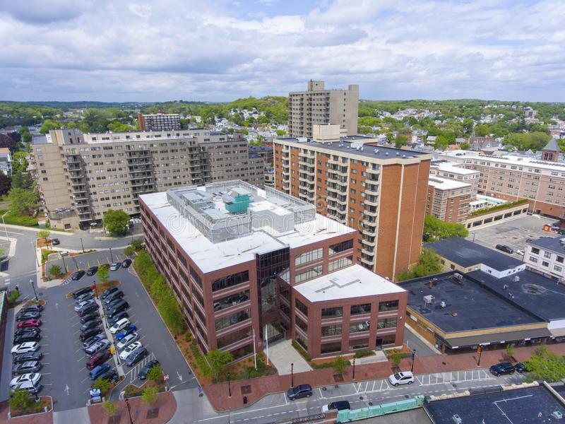 Flyg- sikt för Malden stad, Massachusetts, USA arkivfoto