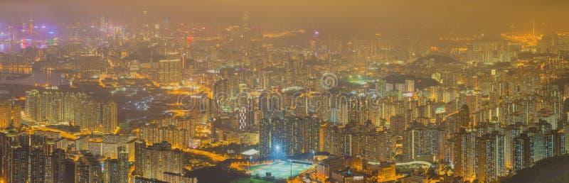 Flyg- sikt för panorama av Hong Kong horisont royaltyfri foto