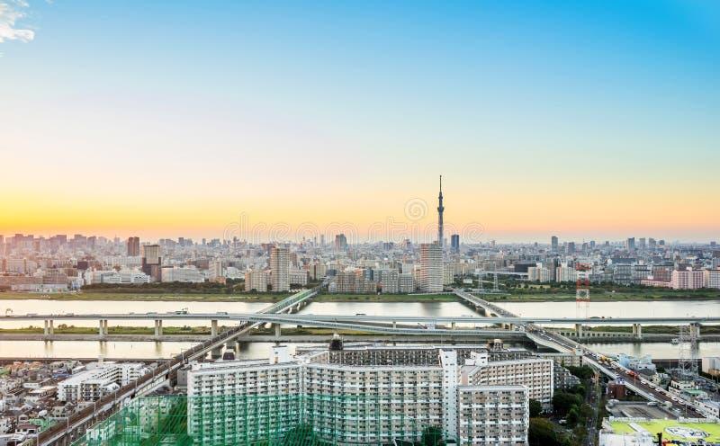 Flyg- sikt för panorama- modernt öga för stadshorisontfågel med den tokyo skytreen under dramatiskt solnedgångglöd och härlig mol fotografering för bildbyråer