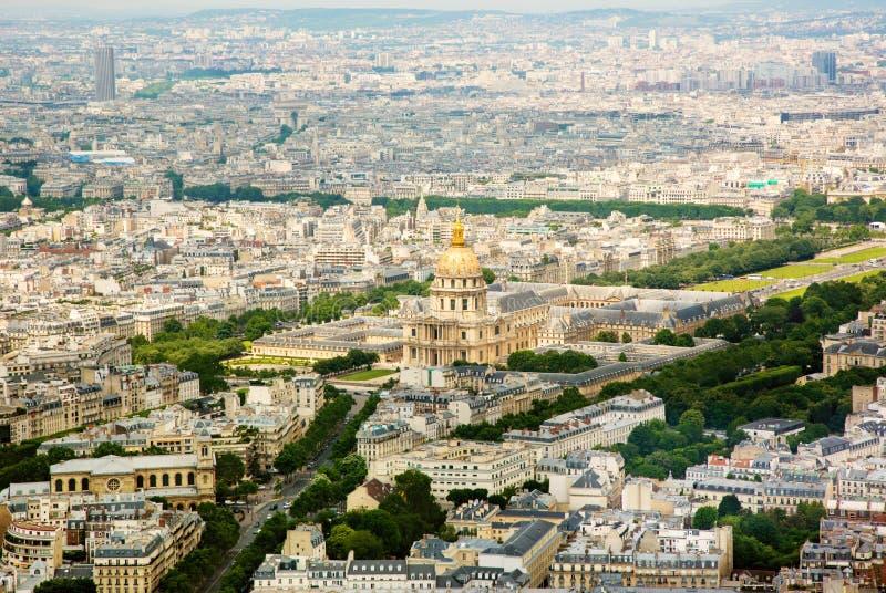 Flyg- sikt för panorama på Les Invalides i Paris, FRANKRIKE fotografering för bildbyråer