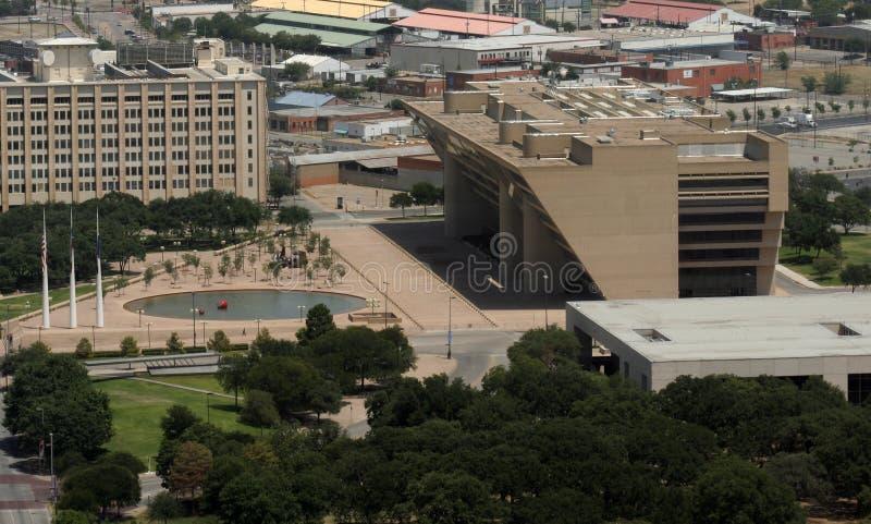 flyg- sikt för plaza för stadsdallas korridor royaltyfri fotografi