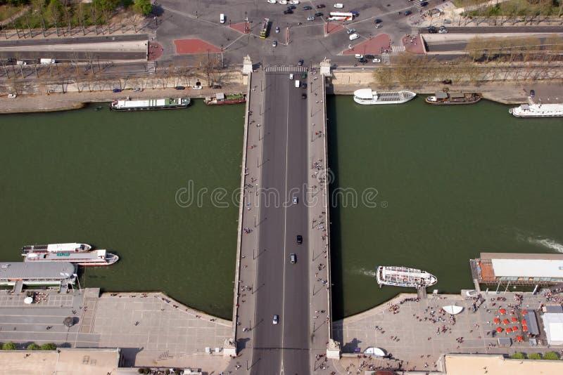 flyg- sikt för seine för brofrance paris flod flyg- sikt paris royaltyfri foto