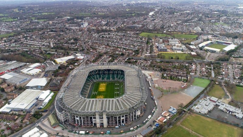 Flyg- sikt för Twickenham rugbystadion royaltyfri fotografi
