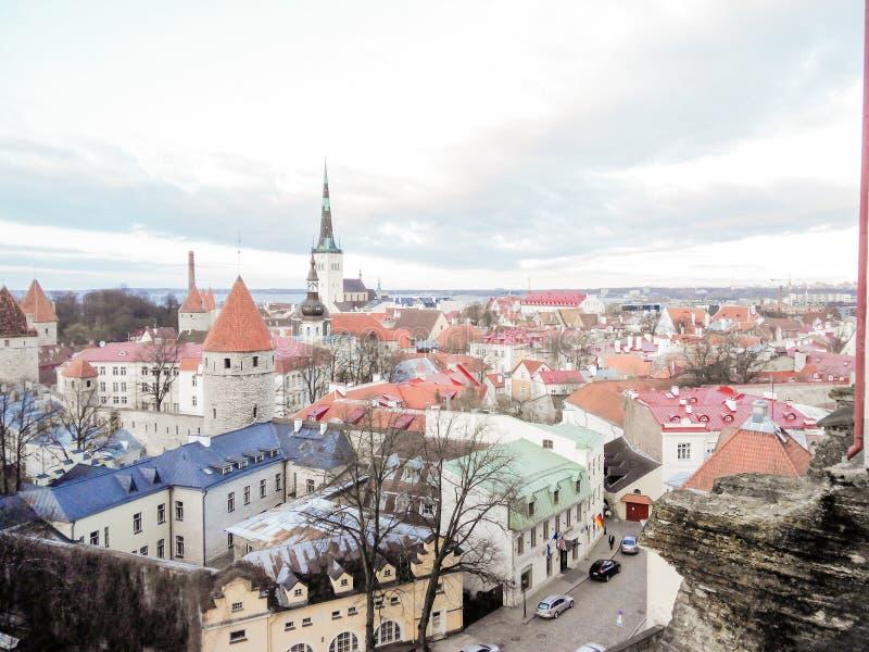 Flyg- sikt f?r Cityscape p? den gamla staden med St Nicholas det kyrkliga tornet och den Toompea kullen i Tallinn, Estland royaltyfri bild