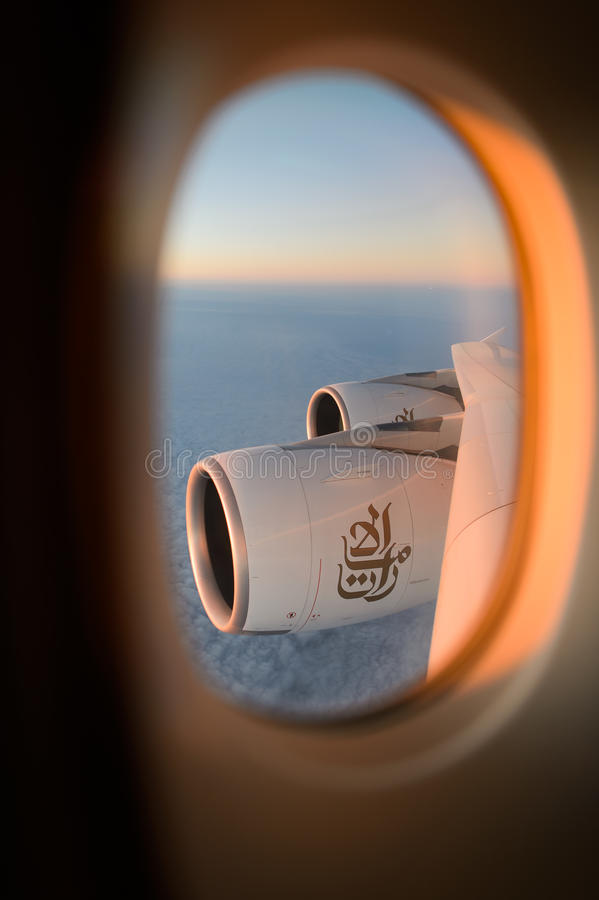 Flyg- sikt från emiratflygbussen A380 arkivfoto