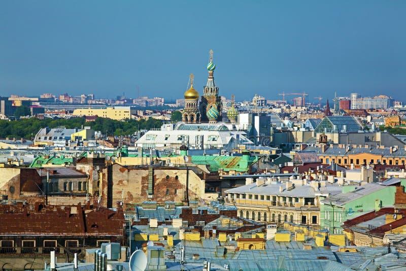 Flyg- sikt från Isaac Cathedral, St Petersburg arkivbild