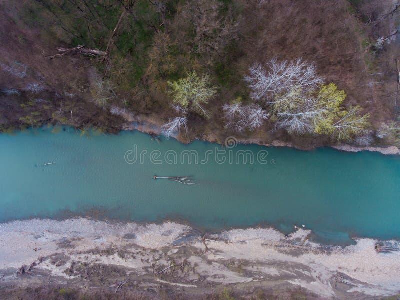 Flyg- sikt från luften på ett stupat träd i floden arkivfoto